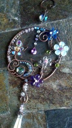 Gemstone Sun Catcher Crystal Copper wire by BrandavirJewelry