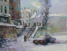 "Waclaw Sporski ""Winter Morning"" 50х65 Oil On Canvas sporskiart.com"