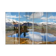DesignArt 'Lake with Pine Trees Reflecting Sky' 4 Piece Photographic Print on Canvas Set