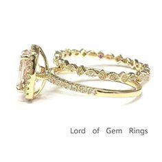$799 Oval Morganite Engagement Ring Sets Pave Diamond Wedding 14K Yellow Gold,7x9mm, Cushion Halo