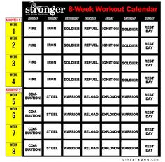 Printable STRONGER 8-Week Workout Calendar to Get You Fit in Time for Summer