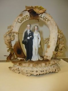 Antique Bride and Groom Wedding Cake Topper Good Luck Horseshoe | eBay