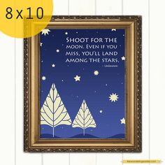 """Inspirational """"Shoot for the moon"""" Graduation Quote Art Print"""