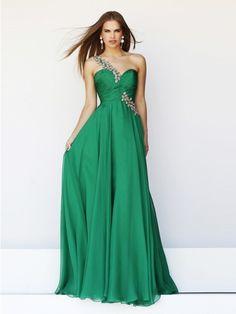 f225ef7416b Elegant A Line One Shoulder Long Emerald Green Chiffon Prom Dress With  Beaded Strap