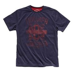 Men's Navy Blue Chuck Tee | Triumph Motorcycles | The Triumph Chuck T-shirt is a 100% cotton navy blue tee with distressed red graphic.