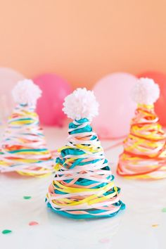Colorful Ribbon Party Hats http://asubtlerevelry.com/colorful-ribbon-party-hats