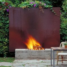 corten steel makes a great backdrop in a modern garden interesting idea. I'd like a more natural looking fire pit, but I do like the corten steel Modern Landscape Design, Modern Landscaping, Landscaping Design, Garden Landscaping, Modern Design, Creative Landscape, Garden Fencing, Abstract Landscape, Fire Pit Materials