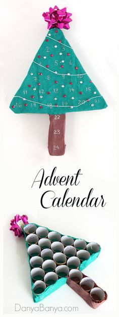DIY Advent Calendar Christmas Tree - made from toilet paper rolls! I love how you can access the back, so you can add in kids Christmas activities and / or sweets as you go. Christmas Tree Paper Craft, Christmas Tree Advent Calendar, Diy Advent Calendar, Little Christmas Trees, Christmas Crafts For Kids, Christmas Activities, Christmas Tree Decorations, Holiday Crafts, Christmas Holidays