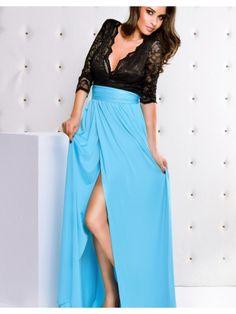 Rochii de Ocazie Ieftine lungi: Rochie eleganta  bleu si negru Simona Rochie foarte eleganta de ocazie, in nuante de negru si albastru, cu bustul decoltat in V, realizat din dantela neagra.Maneca este treisferturi, iar in talie are cordon. http://rochii-ocazie.eu/Rochii-de-ocazie-lungi/Rochii-de-Ocazie-Ieftine-lungi-Rochie-eleganta-bleu-si-negru-Simona?mfp=13o-culoare[67,50]