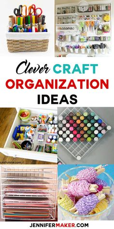 7 Amazing Craft Organization Ideas You'll Love – Jennifer Maker Clever Craft Organization Ideas Paint Storage, Craft Room Storage, Diy Storage, Tool Storage, Kitchen Storage, Storage Ideas, Storage Hacks, Ribbon Storage, Kitchen Drawers