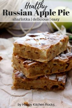 Sharlotka (Шарлотка) is the most well-known and easy Russian apple pie. This recipe uses honey, resulting in the most moist, healthy and delicious sharlotka. Russian Rock Cookies Recipe, Russian Apple Pie Recipe, Autumn Recipes Vegetarian, Healthy Dessert Recipes, Healthy Baking, Fall Recipes, Vegetarian Thanksgiving, Thanksgiving Recipes, Ukrainian Recipes