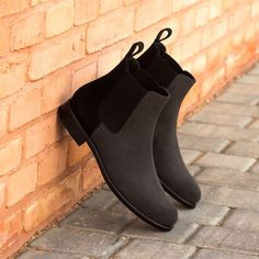 shoes - The Women's Chelsea Boot in Black and Grey Luxe Suede Robert August Apparel Mens Shoes Boots, Mens Boots Fashion, Shoe Boots, Boots Women, Ladies Boots, Women's Boots, Custom Made Shoes, Custom Design Shoes, Suede Chelsea Boots