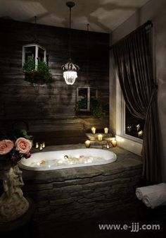 * Surround outside of tub with stone :)
