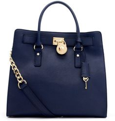 Michael By Michael Kors Blue Large Hamilton Saffiano Tote Bag