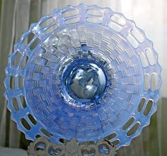 Fenton Plate. Vintage Ice Blue Decorative or by AnythingDiscovered