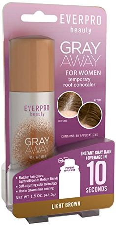 Everpro Gray Away Womens Root Concealer Light Brown/Medium Blonde Pack) *** You can find out more details at the link of the image. (This is an affiliate link and I receive a commission for the sales) Hair Care Routine, Hair Care Tips, Gray Away, Grey Hair Coverage, Root Cover Up, Matrix Hair, Best Concealer, Medium Blonde, Shoulder Hair