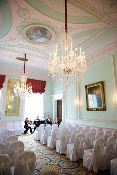 Duke Room Large front windows flood the room with natural light and illuminate the striking chandeliers and dramatic pastel shades on the walls. Seating up to 80 guests, the room offers you a romantic and intimate setting, perfect for exchanging vows.  http://www.chandoshouse.co.uk/weddings/our-wedding-rooms/duke-room  #event #wedding #venue