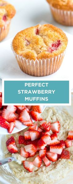 How to make perfect strawberry muffins with a lightly spiced batter and fresh strawberries. How to make perfect strawberry muffins with a lightly spiced batter and fresh strawberries. Strawberry Muffin Recipes, Strawberry Bread, Recipes With Strawberries Breakfast, Strawberry Plant, Baking Recipes, Dessert Recipes, Desserts, Healthy Recipes, Top Recipes