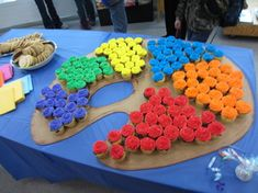 Food display at an exhibit - colorful cupcake palette!