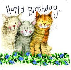 Alex Clark The Three Amigos Cat Birthday Greeting Card Glitter & Sparkle Cats Cat Birthday Memes, Happy Birthday Art, Happy Birthday Wishes Cards, Happy Birthday Images, Birthday Pictures, Birthday Greeting Cards, Birthday Cats, Birthday Bunting, Clark Art