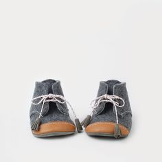 Wool & leather oxford baby booties