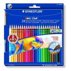 64273696eb Staedtler Noris Club Aquarell 144 Watercolour Pencils - Asstorted Colours ( Pack of 24 + Paint Brush)
