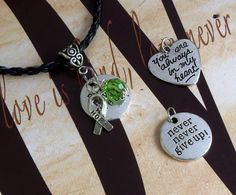 Lyme Disease, Babesia, Celiac Disease Awareness 'Never Never Give Up' or 'You Are Always In My Heart' Charm Pendant