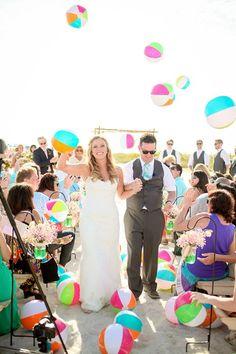 Summer Wedding Ideas Beach wedding ceremony exit with beach ball toss - Our favorite exit toss ideas from real weddings. Wedding Ceremony Ideas, Wedding Exits, Beach Wedding Reception, Beach Ceremony, Beach Wedding Decorations, Wedding Photos, Dream Wedding, Beach Weddings, Elegant Wedding