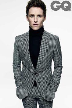 Eddie Redmayne rocks a plaid suit and turtleneck for British GQ