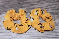 Mustard Yellow & Floral Print Hair Scrunchie, Wrist Scrunchie, Gift for H. Gifts For Teens, Gifts For Her, Velvet Scrunchie, Perfect Woman, Green Velvet, Mustard Yellow, Stretchy Material, Hair Ties, Scrunchies