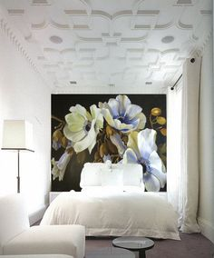 Diana Watson flower painting used as wall paper www.dianawatson.com.au #bedroom