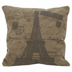 """Pillow with a Carte postale motif and Eiffel Tower detail.  Product: PillowConstruction Material: CottonColor: Deep brownFeatures:  Insert includedHigh thread countDurable and soft design Dimensions: 17"""" x 17"""""""
