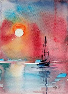 ARTFINDER: Sunset by Kovács Anna Brigitta - Original watercolour painting on high quality watercolour paper. I love landscapes, still life, nature and wildlife, lights and shadows, colorful sight. Watercolor Sunset, Watercolor Landscape Paintings, Easy Watercolor, Watercolor Print, Watercolor Illustration, Painting & Drawing, Shadow Painting, Art Plastique, Art Drawings