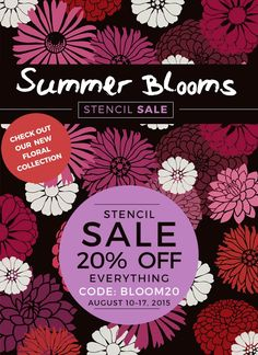 Summer Stencil Sale! Use the code BLOOM20 during checkout to get 20% off your entire purchase.  Shop now: http://www.cuttingedgestencils.com/
