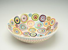 Hand Painted Serving Bowls | Circles Bowl Hand Painted Ceramic Dinnerware Personal or Small Serving
