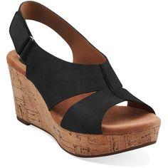 CLARKS Caslynn Lizzie Nubuck Wedge Sandals