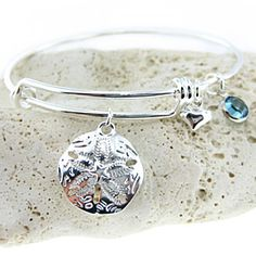 Sand Dollar Adjustable Bangle Bracelet with a Birthstone (BN020A). Starts at by JC Jewelry Design on Opensky