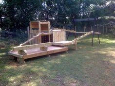 The Goats gym made out of pallets. This was before I stained it.