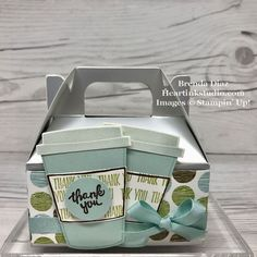 Coffee Cafe Thank You Mini Gable Box! #coffeecafe #minigableboxes #allthingsthanks #woodwords #layeringcircles