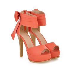 Bow Accent Platform Sandal Stilettos ($18) ❤ liked on Polyvore featuring shoes, sandals, heels, sapatos, scarpe, platform sandals, high heel platform shoes, stiletto sandals, high heel stilettos and orange sandals