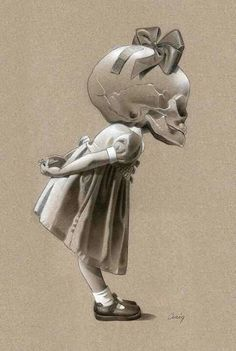 Little skull girl, would make a very cool piece of wall art!