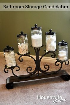 Bathroom Storage Candelabra - Create wonderful bathroom organization for some of your most used items, and don't spend a lot of money on it! Bathroom Organization, Bathroom Storage, Bathroom Hacks, Bathrooms, Makeup Organization, Bathroom Cabinets, Bathroom Towel Decor, Bathroom Vanities, Bathroom Styling