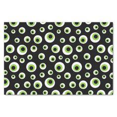 Green Eyeballs | Halloween Pattern Tissue Paper