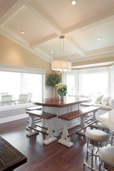 A minimal soffit can be used to install an island mount for Coffered cathedral ceiling