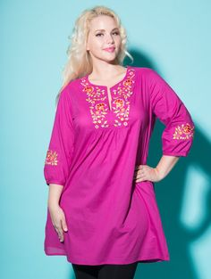 Plus Size Indian Inspired Tunic by April Cornell at lucyclothing.ca !