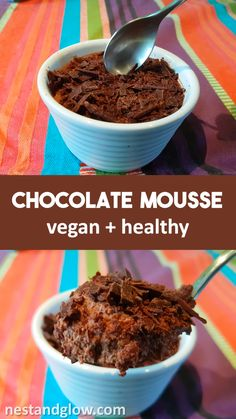 Chocolate Mousse made from coconut milk and cacao. Naturally dairy free and high in antioxidants from the raw cacao. Easy to make in advance for a healthy treat that is vegan Chocolate Mousse made from coconut milk and cacao. Naturally dairy free and hig Healthy Chocolate Mousse, Chocolate Recipes, Chocolate Pudding, Chocolate Chocolate, Vegan Milk Chocolate Recipe, Coconut Milk Chocolate, Chocolate Mousse Cake, Banana Pudding, Chocolate Flavors