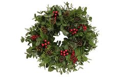 Beautiful cypress, eucalyptus wreath with pine cones and berries from One Kings Lane.
