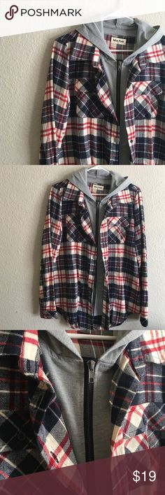 Plaid Hooded Zip Up Plaid zip up with cotton hood. 95% cotton, 5% polyester. Great condition. This jacket zips up and can also be buttoned. Jackets & Coats