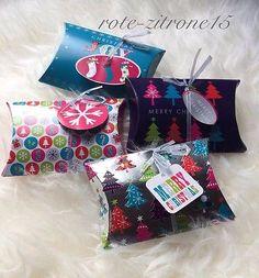 8x Weihnachten Geschenkbox Pillow Box Schachtel Geschenk Verpackung Gastgeschenk