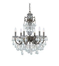 Crystorama 5196-EB-CL-I Legacy 6 Light 23 inch English Bronze Chandelier Ceiling Light in Italian Crystals (I)